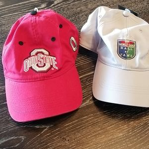 2 adjustable hats Ohio state and Golf Hall of fame